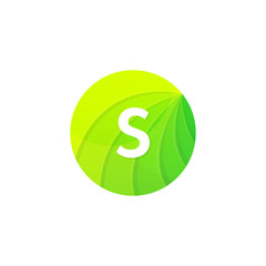 Abstract green circle ecology symbol. Clean organic icon letter S logo sign vector design
