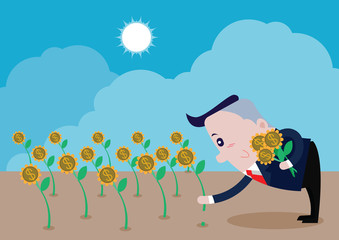 Business was picking flowers bloom is money, vector cartoon
