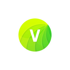 Abstract green circle ecology symbol. Clean organic icon letter V logo sign vector design
