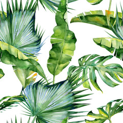 Seamless watercolor illustration of tropical leaves, dense jungle. Pattern with tropic summertime motif may be used as background texture, wrapping paper, textile,wallpaper design.