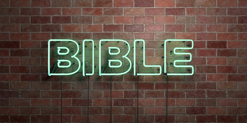 BIBLE - fluorescent Neon tube Sign on brickwork - Front view - 3D rendered royalty free stock picture. Can be used for online banner ads and direct mailers..