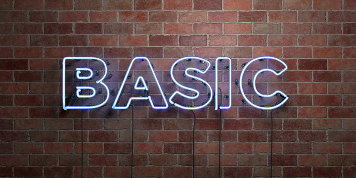BASIC - fluorescent Neon tube Sign on brickwork - Front view - 3D rendered royalty free stock picture. Can be used for online banner ads and direct mailers..