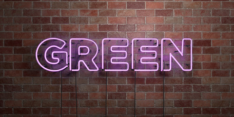 GREEN - fluorescent Neon tube Sign on brickwork - Front view - 3D rendered royalty free stock picture. Can be used for online banner ads and direct mailers..