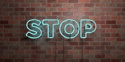 STOP - fluorescent Neon tube Sign on brickwork - Front view - 3D rendered royalty free stock picture. Can be used for online banner ads and direct mailers..