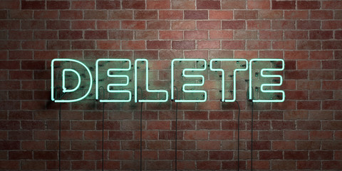 DELETE - fluorescent Neon tube Sign on brickwork - Front view - 3D rendered royalty free stock picture. Can be used for online banner ads and direct mailers..