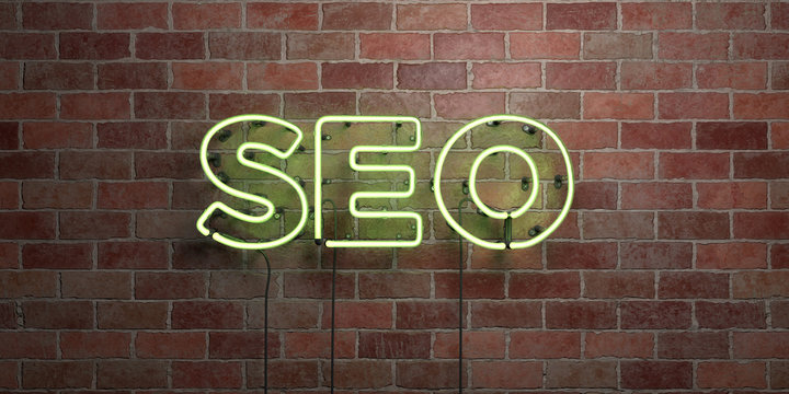 SEO - fluorescent Neon tube Sign on brickwork - Front view - 3D rendered royalty free stock picture. Can be used for online banner ads and direct mailers..