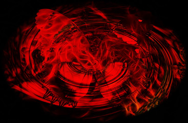 Butterfly on black background with fire flames in swirl.