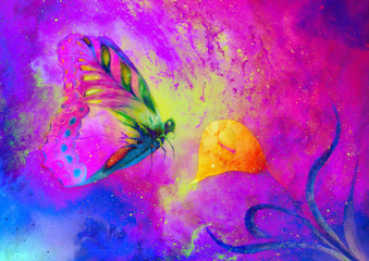 Fotorolgordijn Vlinders in Grunge flying butterfly with cala flower in cosmic space. Painting with graphic design.