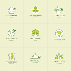 Vegetarian food icons set 1