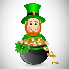 Cartoon leprechaun with a pot of gold