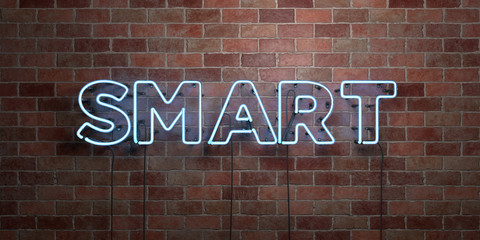 SMART - fluorescent Neon tube Sign on brickwork - Front view - 3D rendered royalty free stock picture. Can be used for online banner ads and direct mailers.. Fotoväggar