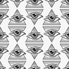 seamless pattern of the eye in the triangle in the style of tattoos