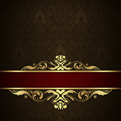 Decorative vintage background with golden border.