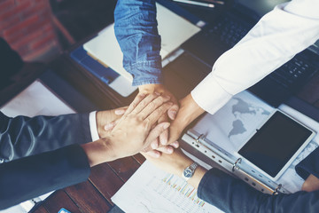 Teamwork concept, Business handshake in office.