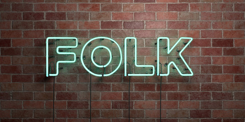 FOLK - fluorescent Neon tube Sign on brickwork - Front view - 3D rendered royalty free stock picture. Can be used for online banner ads and direct mailers..