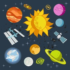 Outer Space vector objects, spaceships, planets, stars, rocket, sun, satellite