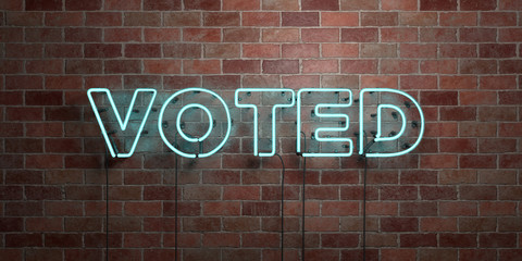 VOTED - fluorescent Neon tube Sign on brickwork - Front view - 3D rendered royalty free stock picture. Can be used for online banner ads and direct mailers..