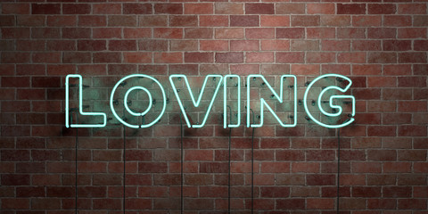 LOVING - fluorescent Neon tube Sign on brickwork - Front view - 3D rendered royalty free stock picture. Can be used for online banner ads and direct mailers..