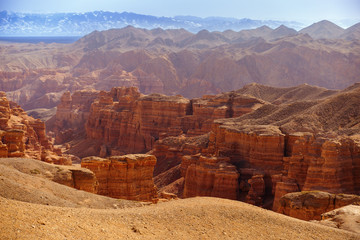 Charyn Canyon Kazakhstan. Nature reserve. Guarded territory. Natural Park.  Beautiful mountain landscape.  Bizarre rocks and slopes.
