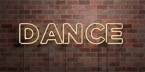 DANCE - fluorescent Neon tube Sign on brickwork - Front view - 3D rendered royalty free stock picture. Can be used for online banner ads and direct mailers..