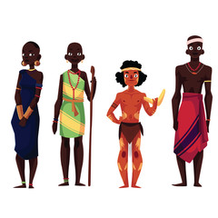 Native black skinned people of African tribes and Australian aborigine, cartoon vector illustration isolated on white background. Full length portraits of African and Australian aborigines
