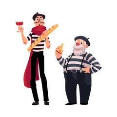 Two French mimes, young and old, in traditional costumes with symbols of France - cheese, wine baguette, cartoon vector illustration isolated on white background. French mime characters