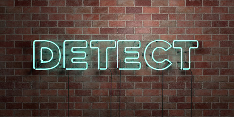 DETECT - fluorescent Neon tube Sign on brickwork - Front view - 3D rendered royalty free stock picture. Can be used for online banner ads and direct mailers..