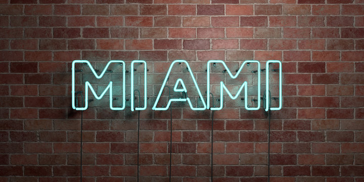 MIAMI - fluorescent Neon tube Sign on brickwork - Front view - 3D rendered royalty free stock picture. Can be used for online banner ads and direct mailers..