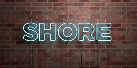 SHORE - fluorescent Neon tube Sign on brickwork - Front view - 3D rendered royalty free stock picture. Can be used for online banner ads and direct mailers..