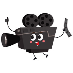 Cute and funny vintage film reel camera character with smiling human face, cartoon vector illustration isolated on white background. Smiling movie, cinema shooting film camera character, mascot