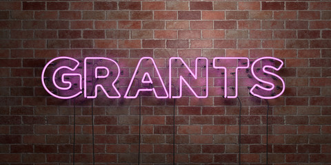 GRANTS - fluorescent Neon tube Sign on brickwork - Front view - 3D rendered royalty free stock picture. Can be used for online banner ads and direct mailers..