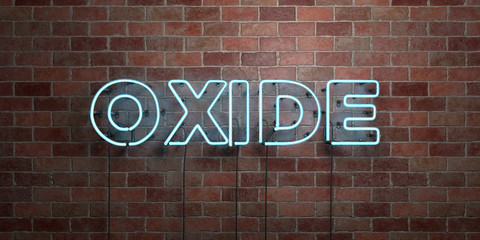 OXIDE - fluorescent Neon tube Sign on brickwork - Front view - 3D rendered royalty free stock picture. Can be used for online banner ads and direct mailers..