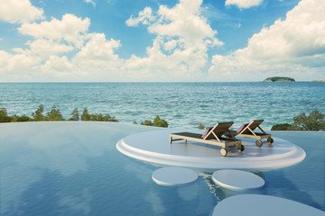 Swimming Pool with  the sea
