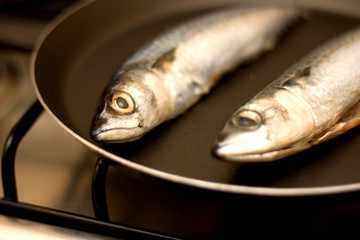 Two ray-finned fish (chub mackerel) in a pan, before frying. Selective focus.