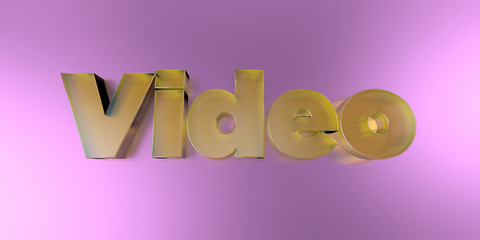 Video - colorful glass text on vibrant background - 3D rendered royalty free stock image.