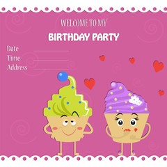 An invitation to a birthday party. Funny cute cupcakes. Flat style .Cartoon. Vector illustration.