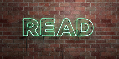 READ - fluorescent Neon tube Sign on brickwork - Front view - 3D rendered royalty free stock picture. Can be used for online banner ads and direct mailers..