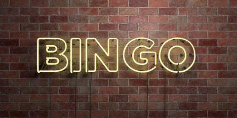BINGO - fluorescent Neon tube Sign on brickwork - Front view - 3D rendered royalty free stock picture. Can be used for online banner ads and direct mailers..
