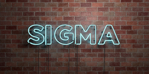 SIGMA - fluorescent Neon tube Sign on brickwork - Front view - 3D rendered royalty free stock picture. Can be used for online banner ads and direct mailers..