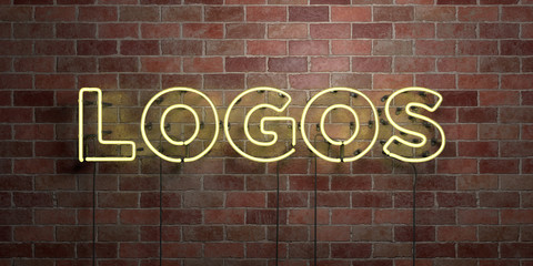LOGOS - fluorescent Neon tube Sign on brickwork - Front view - 3D rendered royalty free stock picture. Can be used for online banner ads and direct mailers..