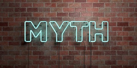 MYTH - fluorescent Neon tube Sign on brickwork - Front view - 3D rendered royalty free stock picture. Can be used for online banner ads and direct mailers..