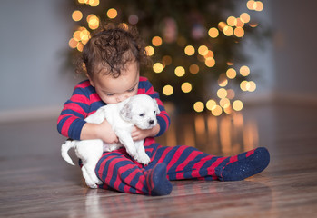 Toddler holds and kisses a puppy in front of Christmas Tree