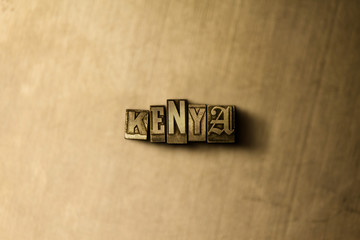 KENYA - close-up of grungy vintage typeset word on metal backdrop. Royalty free stock illustration.  Can be used for online banner ads and direct mail.