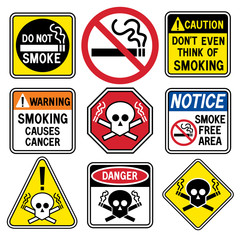 Smoking hazard signs collection.