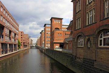 Brick building on the Herrengrabenfleet in the Hanseatic City Hamburg, Germany, Europe.