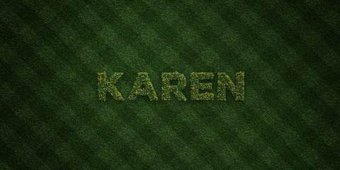KAREN - fresh Grass letters with flowers and dandelions - 3D rendered royalty free stock image. Can be used for online banner ads and direct mailers..