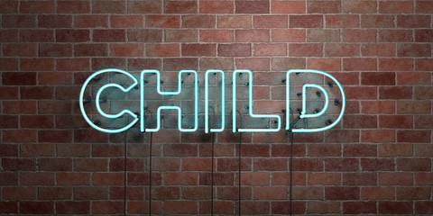 CHILD - fluorescent Neon tube Sign on brickwork - Front view - 3D rendered royalty free stock picture. Can be used for online banner ads and direct mailers..