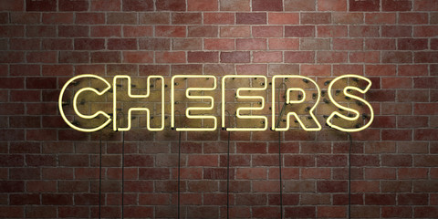 CHEERS - fluorescent Neon tube Sign on brickwork - Front view - 3D rendered royalty free stock picture. Can be used for online banner ads and direct mailers..