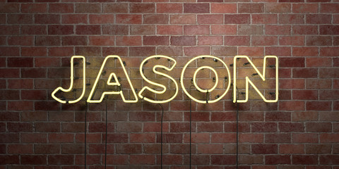 JASON - fluorescent Neon tube Sign on brickwork - Front view - 3D rendered royalty free stock picture. Can be used for online banner ads and direct mailers..