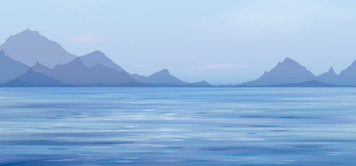 Vector blue sea scene  on  mountains  background.